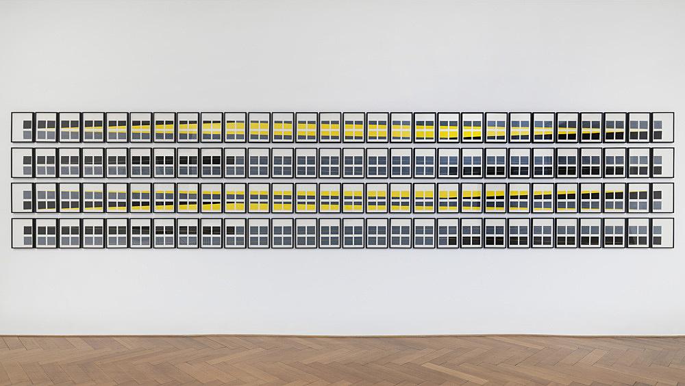 "Isa Genzken – ""Parallelogramme"", 1975 gouache on paper 112 parts, each 29,7 x 21 cm"