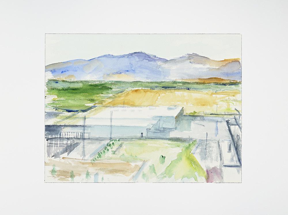 "John Kelsey – ""VMWare Data Center, Wenatchee, WA"", 2013 watercolor, mounted on aluminium 31 x 41 cm"