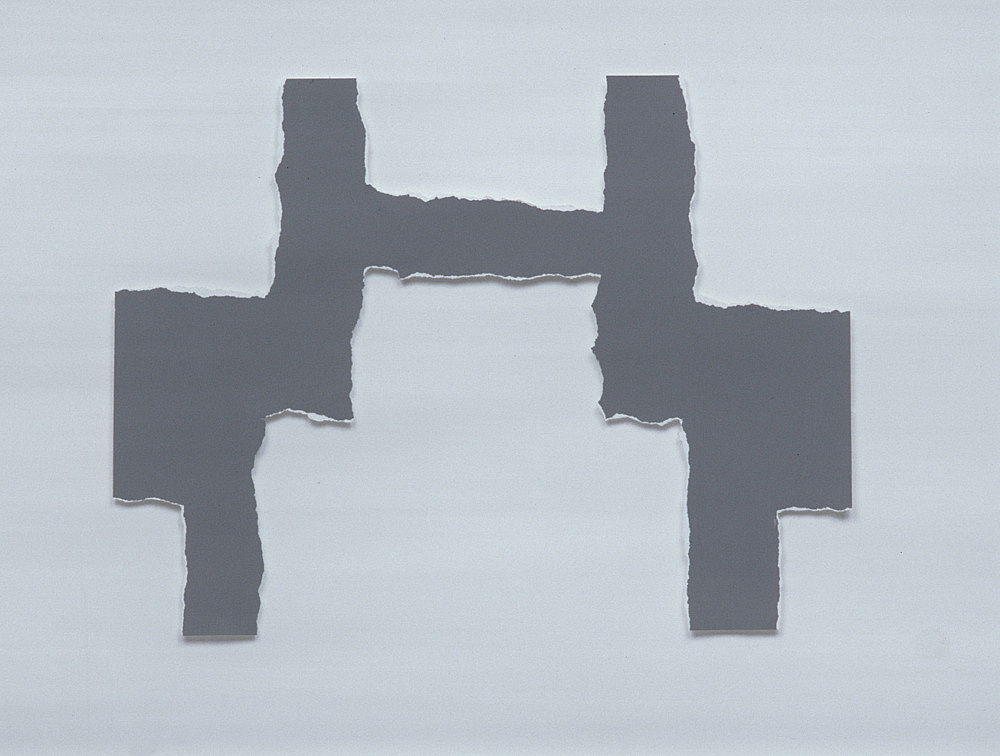 "Morgan Fisher – ""H Piece"", 2002 torn Color-aid paper 23 x 30 cm"