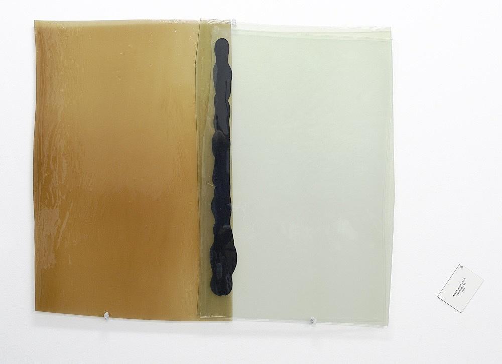 "Nairy Baghramian – ""Anzeigenformat/Advertising Format"", 2010 blown glass, silicon, 97 x 110 x 3 cm label, 9,5 x 13 cm"