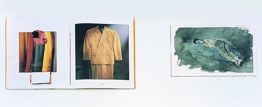 Jochen Klein – Untitled, 1992 collaged artist book, 30 pages 30 x 22,5 cm & Untitled, 1997 watercolor on paper 20 x 29 cm installation view Galerie Daniel Buchholz, Köln 2004