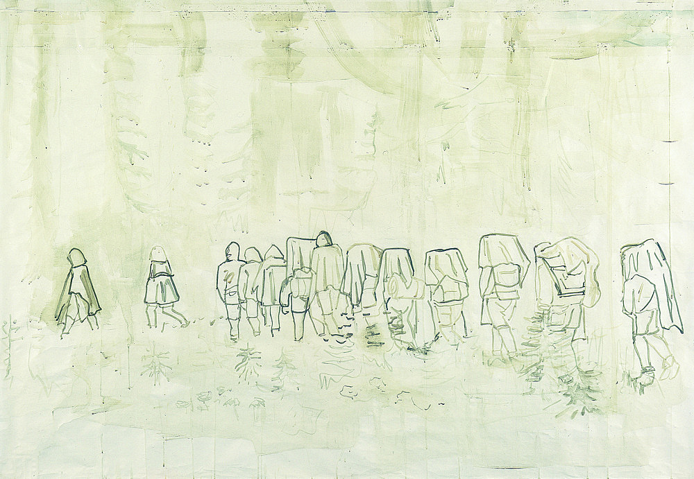"Thomas Eggerer – ""Hiking Trail"", 2002 acrylic and pencil on paper 142 x 200 cm"