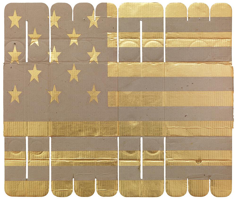 """Danh Vo – """"Ocean Champagne Glass"""", 2011 gold leaf on cardboard, 214 gr 61 x 73 cm"""
