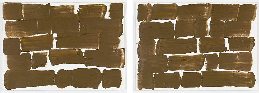 """Morgan Fisher – """"Back and Forth Paintings"""", 2 parts, acrylic on paper each 25,8 x 35,9 frame 34,2 x 81,2 cm"""