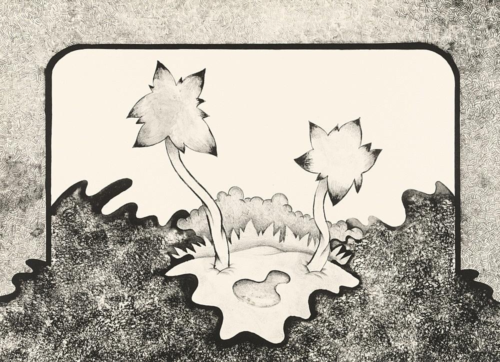 """Ed Flood – """"O.B. Lagoon"""", 1971 black and white lithograph 41 x 56 cm"""