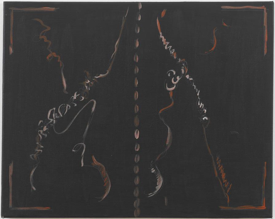 "Jutta Koether – ""Aby Warburg, Kreuzlinger Tagebuch, Heft 33 (27. Juli bis 18. August 1921)"", 2011 acrylic and oil on canvas 40 x 50 cm"