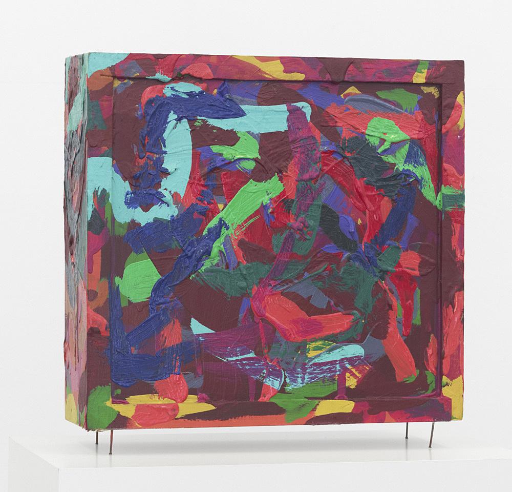 "Ed Flood – ""Time Capsule (Multicolor)"", ca.1966-70 mixed media 30,5 x 31,7 x 8,9 cm"