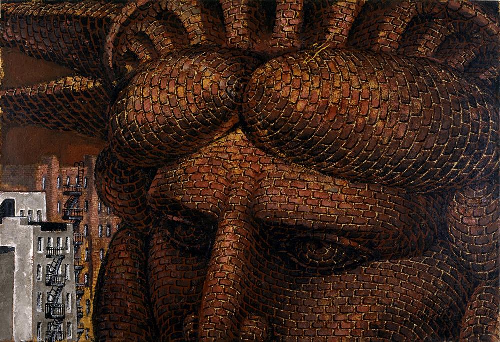 "Martin Wong – ""Mrs. Liberty Face"", 1990 acrylic on linen 80 x 118 cm"