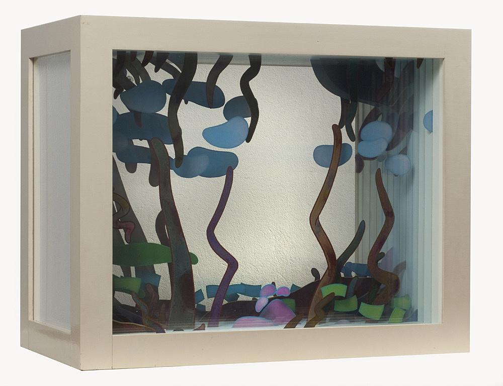 """Ed Flood – """"Pascale's Triangle"""", 1973 acrylic, plexiglas, wood 61 x 76,2 x 39,4 cm"""