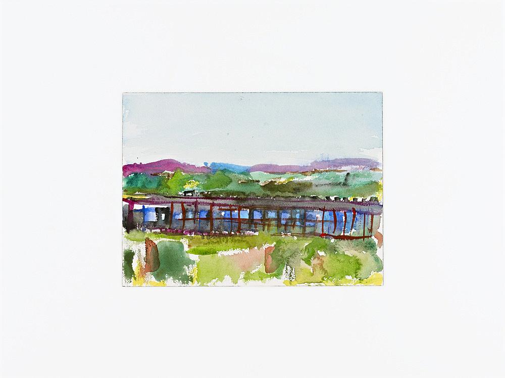 "John Kelsey – ""Google Data Center, Lenoir, NC"", 2013 watercolor, mounted on plexi 23 x 31 cm"