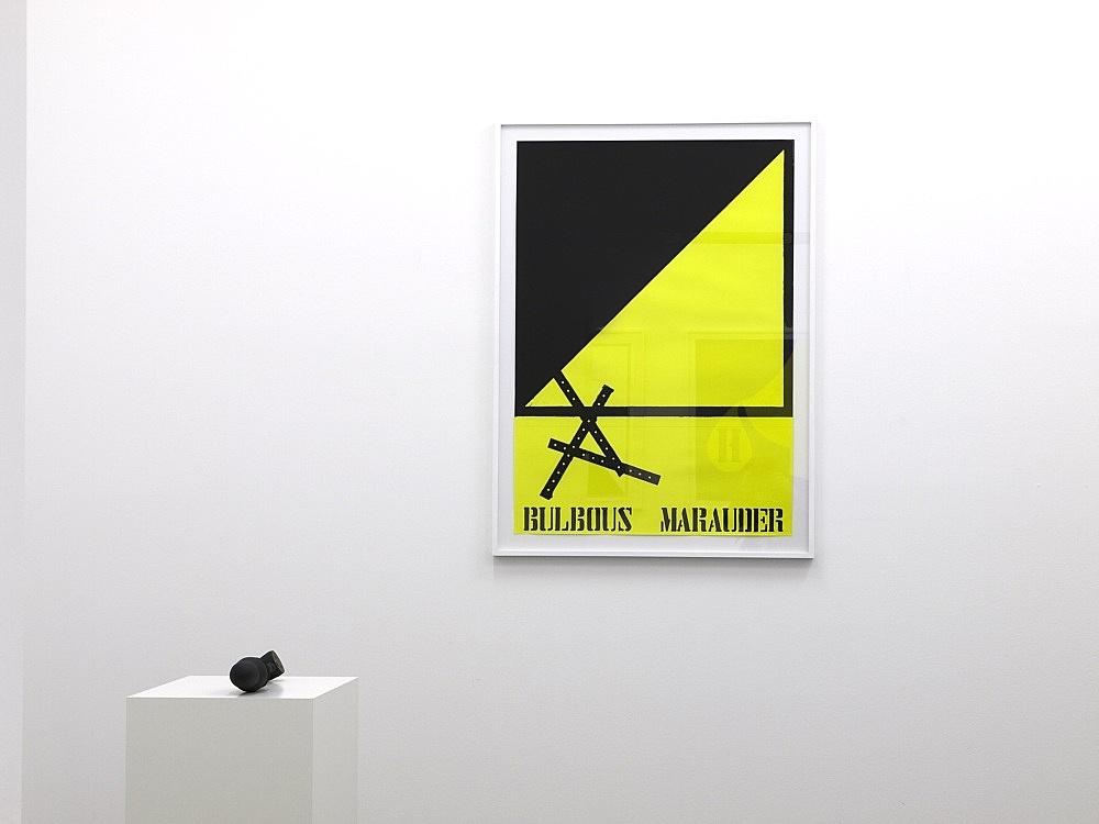"""Enrico David – """"Bulbous Marauder"""", 2008 2 parts: gouache on paper, 116 x 83 cm (framed: 129 x 94 cm) wood, paper, paint, 8 x 48 x 8 cm on plinth installation view Galerie Daniel Buchholz, Köln 2008"""
