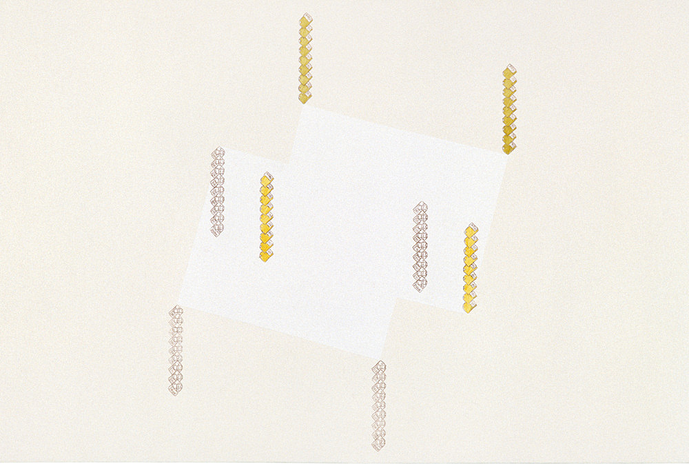 "Frances Stark – ""Gravity, Levity, Brown and Green"", 2000 carbon, acrylic, gouache, casein on canvas 61 x 91 cm"