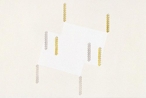 "Frances Stark – ""Gravity, Levity, Brown and Green"", 2000 carbon, acrylic, gouache, casein on canvas 61 x 91 cm"