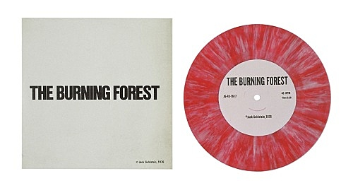 """Jack Goldstein – """"A Suite of Nine 7-Inch Records"""", 1976 45 rpm, different colored 7-inch vinyl detail: """"The Burning Forest"""", 1976 45 rpm, red and white vinyl"""