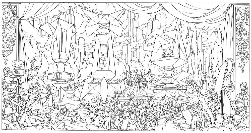 "Julian Göthe – ""Popcorn and Politics"", 2008 pencil on paper 22 x 41 cm"