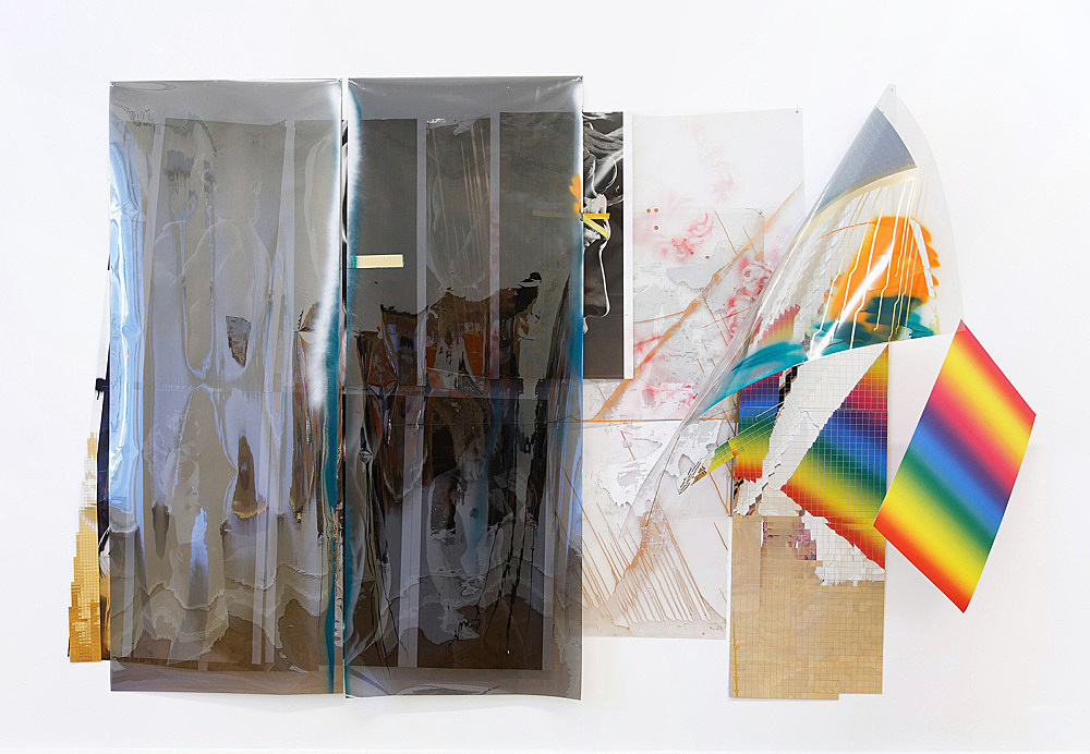 "Isa Genzken – ""Wind I (David)"", 2009 mirror foil, plastic foil, colour prints on paper, spray paint, lacquer, tape, metal 198 x 300 cm"