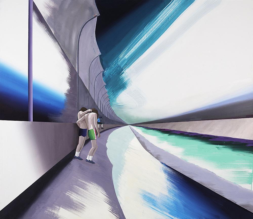 """Thomas Eggerer – """"Fence Romance"""", 2009 acrylic and oil on canvas 177 x 204 cm"""