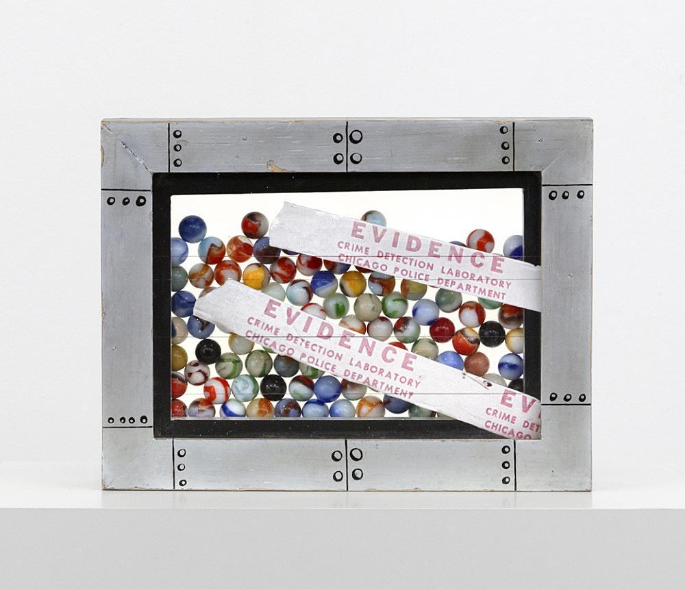 "Ed Flood – ""Evidence"", 1968 acrylic, plexiglas, wood, marbles 27,3 x 20,3 x 5,1 cm"