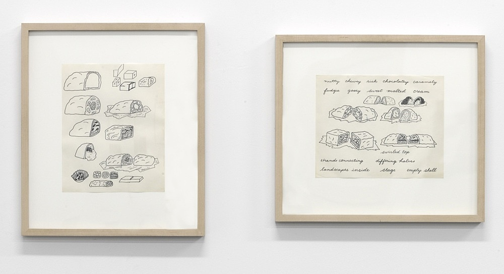 "Christina Ramberg – ""Untitled (candy)"", 1968 felt-tip pen on paper 25,4 x 20,3 cm (sheet), framed & ""Untitled (nutty chewy)"", 1968 felt-tip pen on paper 20,3 x 25,4 cm (sheet), framed"