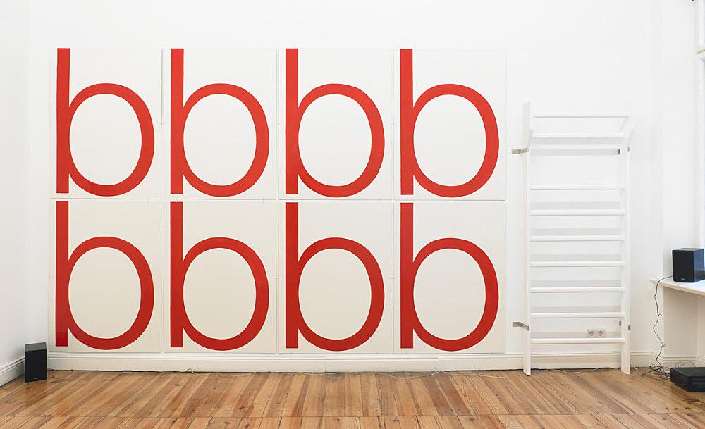 "Cosima von Bonin / Moritz von Oswald – THE LETTER B, 2001/2011 wood, metal, fiberboard, lacquer 257 x 461 cm & ""SIRENENGRUPPE, 2011 soundpiece, 13 min, 40 sec"