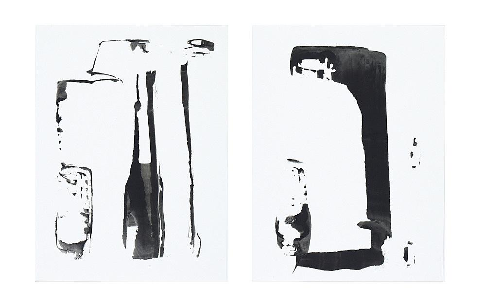John Kelsey – Untitled, 2008 ink on paper 30,3 x 22,7 cm & Untitled, 2008 ink on paper 30,3 x 22,7 cm