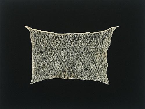 "Florian Pumhösl – ""Untitled (Feline Faces with raised arms)"", 2004 pre-columbian Cahncay gauze textile on loden 120 x 90"