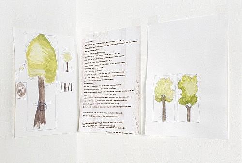 "Frances Stark – ""Der Keim, das Werk, das Erblühen"", 2000 3 parts, watercolor, coloured pencil, carbon on paper each 29,5 x 21 cm"