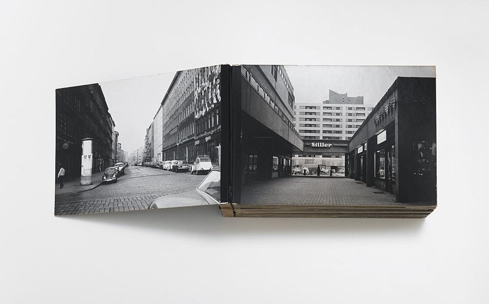 "Isa Genzken – ""Berlin, 1973"", 1973 artist book, prototype, 78 b/w-photographs, mounted on cardboard, adhesive tape 19,5 x 31 x 8,5 cm"