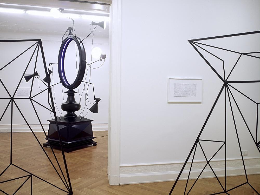 """Julian Göthe – """"Events during Flood"""" installation view Galerie Daniel Buchholz, Berlin 2008"""