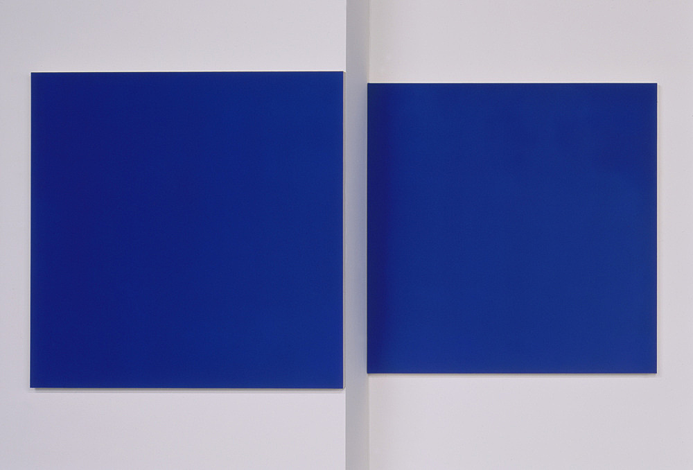 """Morgan Fisher – """"Pendant Pair Painting (blue/orange)"""", 2007 1 of 2 works, acrylic on canvas on wood 2 parts, each 100 x 100 cm"""
