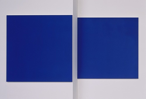 "Morgan Fisher – ""Pendant Pair Painting (blue/orange)"", 2007 1 of 2 works, acrylic on canvas on wood 2 parts, each 100 x 100 cm"