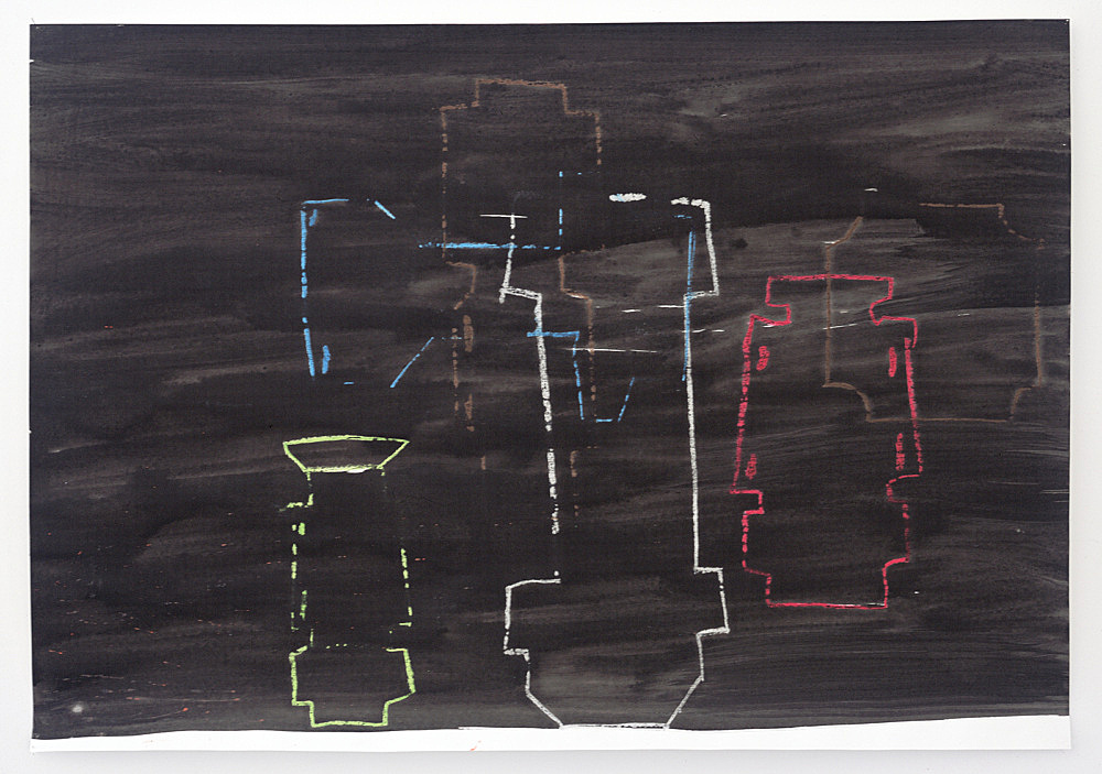 Stefan Thater – Untitled, 2005 ink and oil crayon on cardboard 70 x 100 cm