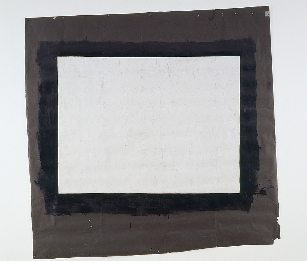 """Tony Conrad – """"Yellow Movie 1/12-13/73"""", 1973 Emulsion: Sterling gray low lustre Enamel, thick textured Base: Pitch black seamless paper 242.57 x 251.46 cm installation view Galerie Daniel Buchholz, Art Cologne 2008"""