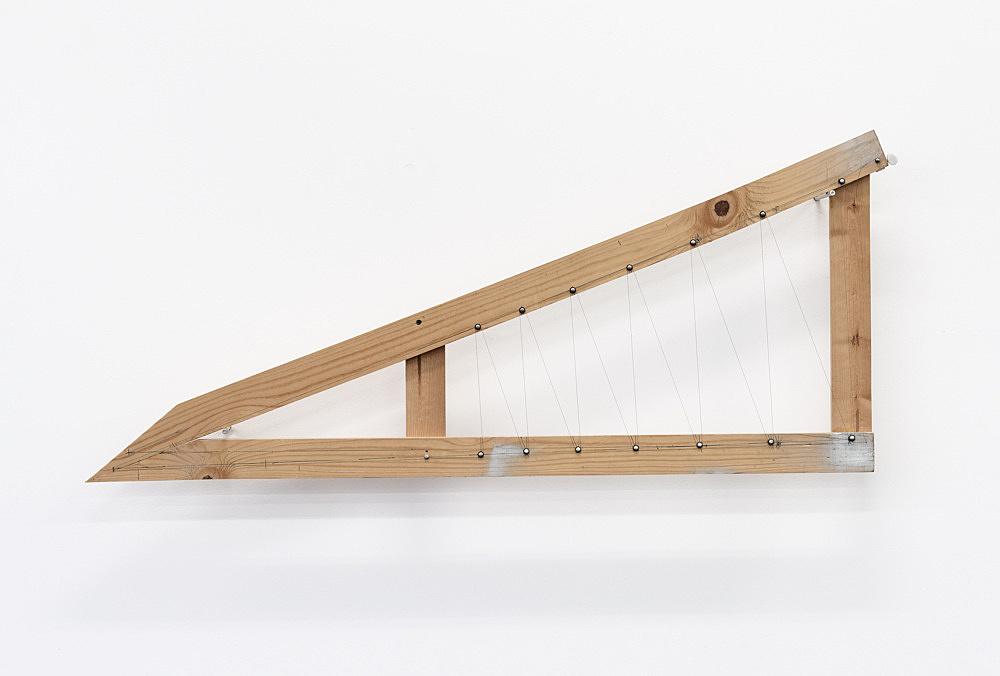 "Tony Conrad – ""Equal Tempered Twelve-tone Mesolabe"", ca. 2002 wood, wire, tuning key, screws 54 x 130 x 4,5 cm"
