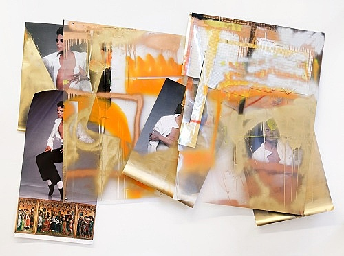 "Isa Genzken – ""Wind II (Michael Jackson)"", 2009 plastic foil, colour prints on paper, mirror foil, spray paint, perspex, tape, metal 174 x 230 cm"