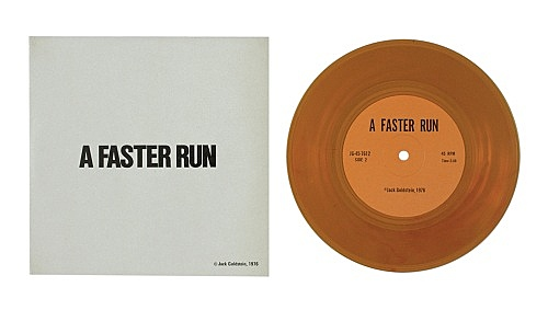 """Jack Goldstein – """"A Suite of Nine 7-Inch Records"""", 1976 45 rpm, different colored 7-inch vinyl detail: """"A Faster Run"""", 1976 45 rpm, orange vinyl"""