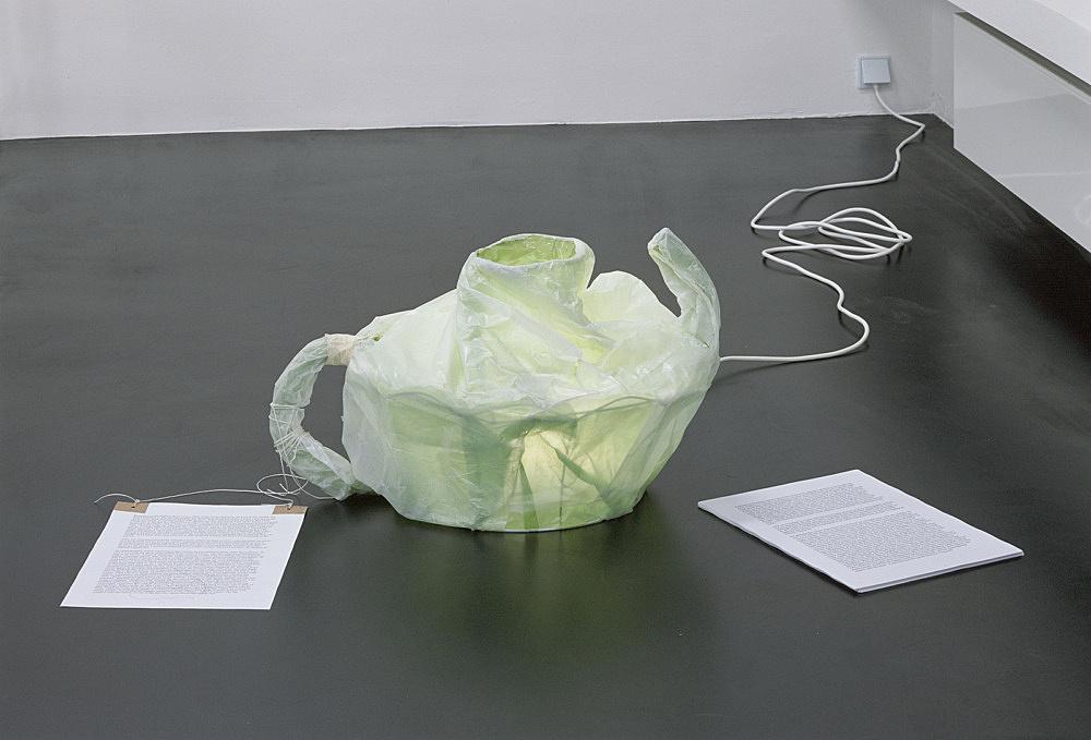 "Josef Strau – ""Teapot"", 2006 paper lamp, 40 x 72 x 55 cm poster , 59,5 x 41,9 cm installation view Galerie Daniel Buchholz, Köln 2006"