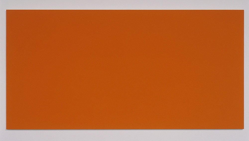 """Morgan Fisher – """"Pendant Pair Painting (blue/orange)"""", 2007 1 of 2 works, acrylic on canvas on wood 100 x 200 cm"""