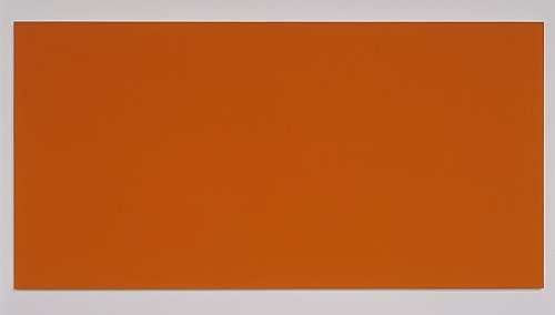 "Morgan Fisher – ""Pendant Pair Painting (blue/orange)"", 2007 1 of 2 works, acrylic on canvas on wood 100 x 200 cm"