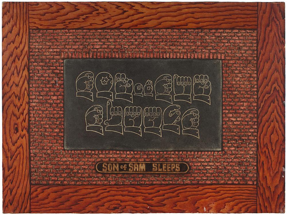 """Martin Wong – """"Son of Sam Sleeps"""", 1983 acrylic on canvas 91.5 x 122 cm"""