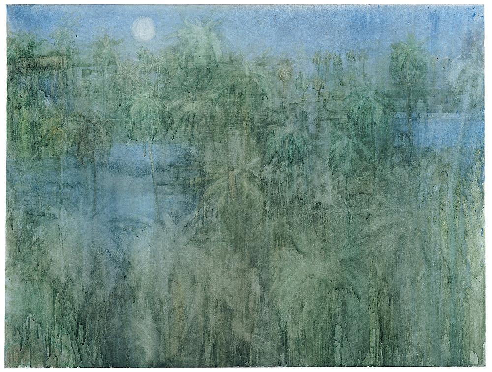 "Silke Otto-Knapp – ""Mandalay Garden (Night)"", 2003 watercolour on canvas 80 x 105 cm"