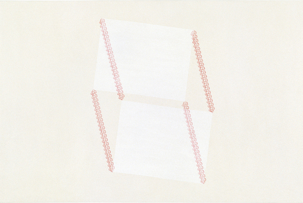 "Frances Stark – ""Untitled (now, no, paper #4)"", 1999 carbon, acrylic, casein on canvas 61 x 91 cm"