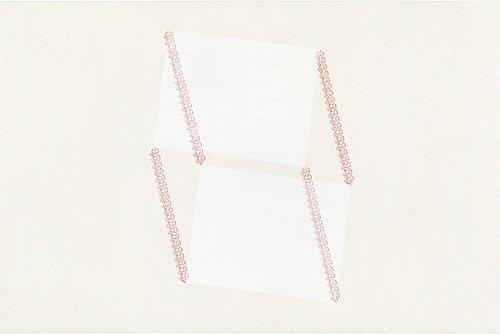 "Frances Stark – ""Untitled (now, no, paper #4)"", 1999 carbon, acrylic, casein on canvas 61 x 91 cm"