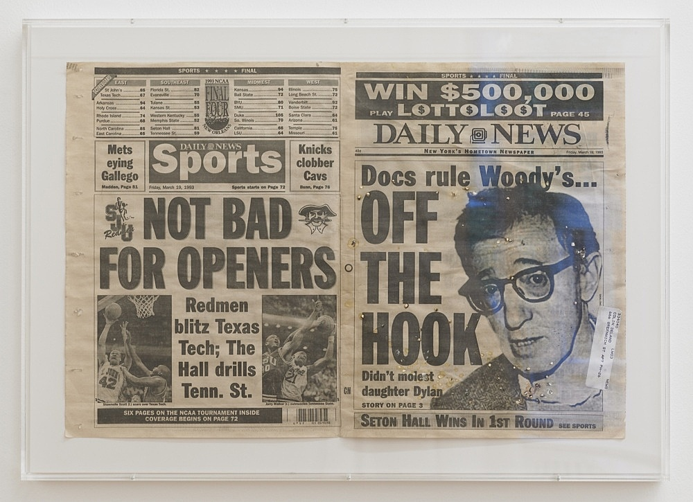 Cosima von Bonin – UNTITLED (NOT BAD FOR OPENERS), 1993 (w/m. Colin de Land) cover sheet of a Daily News issue, parakeet droppings, address label 42 x 60 cm