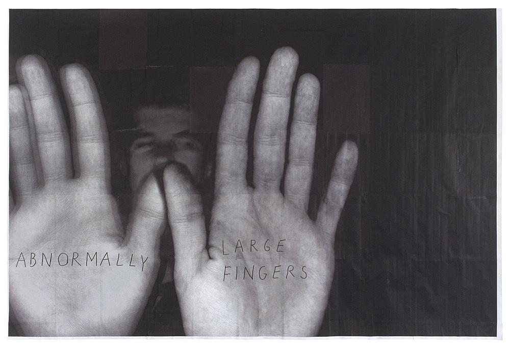 """Henrik Olesen – """"(after Truman Capote)"""", 2002 computer printouts 138 x 204 cm"""