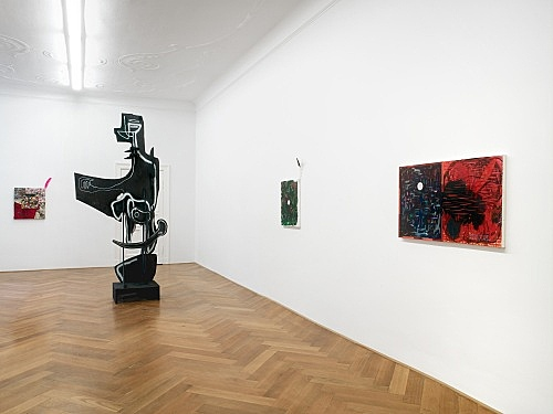 "Richard Hawkins / Aaron Curry – ""Celestial Telegraph Paintings"" / ""Another Language"" installation view Galerie Buchholz, Berlin 2008"