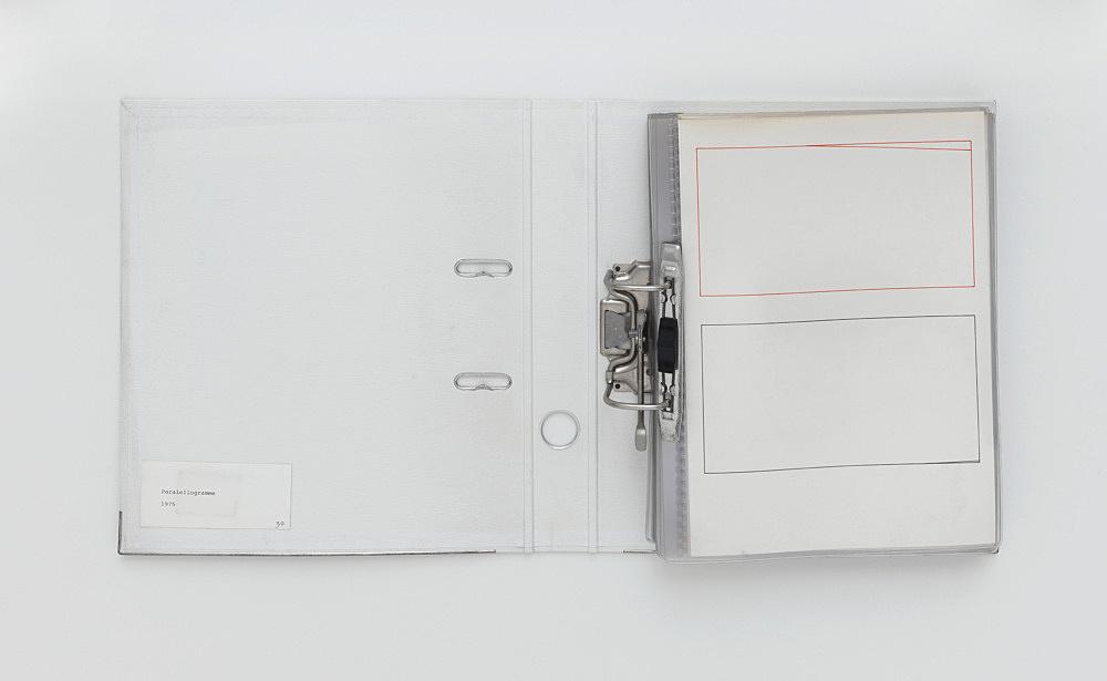 "Isa Genzken – ""Parallelogramme"", 1975 felt pen on paper 60 parts, each 29,7 x 21 cm, in office folder"