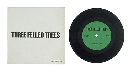 """Jack Goldstein – """"A Suite of Nine 7-Inch Records"""", 1976 45 rpm, different colored 7-inch vinyl detail: """"Three Felled Trees"""", 1976 45 rpm, green vinyl"""