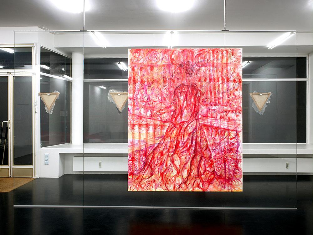 """Jutta Koether – """"Die Seele zwischen Himmel und Hölle 2"""", 2008 acrylic on canvas 200 x 160 cm installation view Galerie Daniel Buchholz, Köln 2008"""