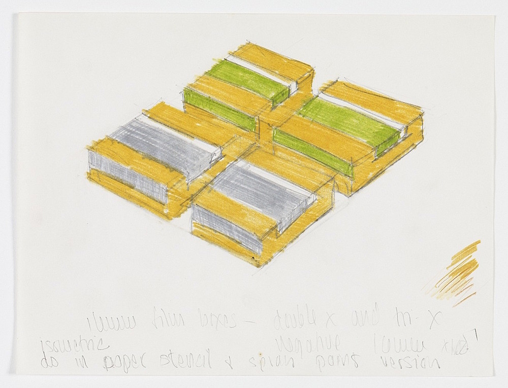 """Morgan Fisher – """"16mm film boxes – double x and tri-x"""", 1968 pencil and coloured pencil on paper 21,4 x 27,9 cm"""